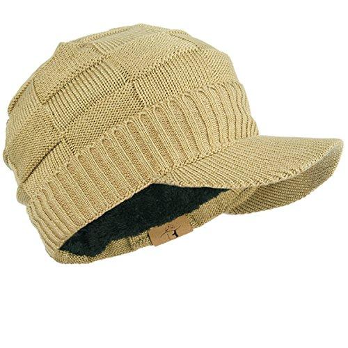 FORBUSITE つば付きニット帽レディースニット帽裏起毛防寒厚手B322(ベージュ)