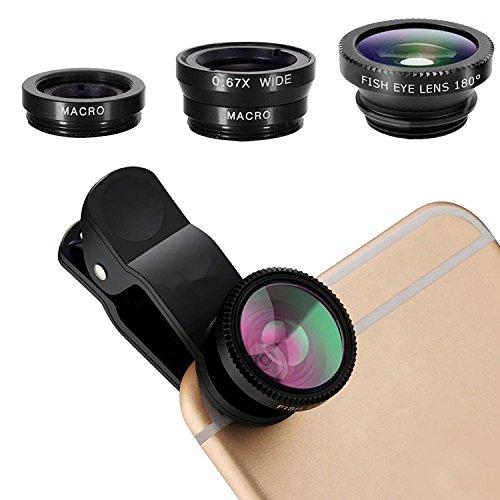 スマートフォンカメラレンズ セルカレンズ (180°魚眼レンズ 0.67x広角レンズ 10xマクロレンズ 3種セット)クリップ式 自撮り用 iPhone/Androidスマホなど対応 ブラック MUCHER