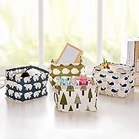 【MUZIKA】コットン生地の 折り畳み式 収納ボックス 小物入れ コスメ 化粧品 の収納に最適 幅20×奥行16×高さ13.5cm 4色セット