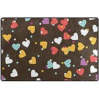 vantasoドアマット非スリップエリアラグHappy Valentine 's Dayシームレスなカラフルハートライト再生マットカーペットの再生の子供部屋リビングルームSoft Foamキッチンラグ31 x 20インチ 31 x 20 inch