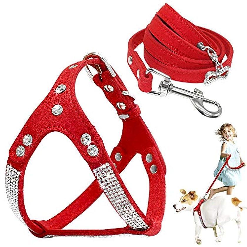 辛な漏斗固執XUTXCKA ソフトスエードレザー犬ハーネスリーシュセット調節可能な子犬ペットハーネスリードリードセット用中小犬猫