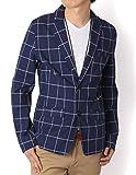 (リピード) REPIDO テーラードジャケット メンズ ジャケット綿麻 ネイビー/ウィンドペン Lサイズ