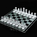 【アマテラス】クリスタル チェス クリア&フロスト (透明&薄白色) オールガラス製 チェスセット 35cm×35cm 特大 ドラマ『相棒』 劇場版 小道具として使用 【MT069】