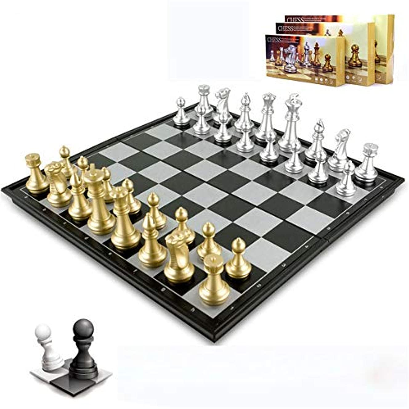 チェス 木製の巧妙な部分およびチェスの収納スロットが付いている木製の標準的なチェスのゲーム板セットを折るチェスセット (色 : As picture, サイズ : 25*25*2cm)