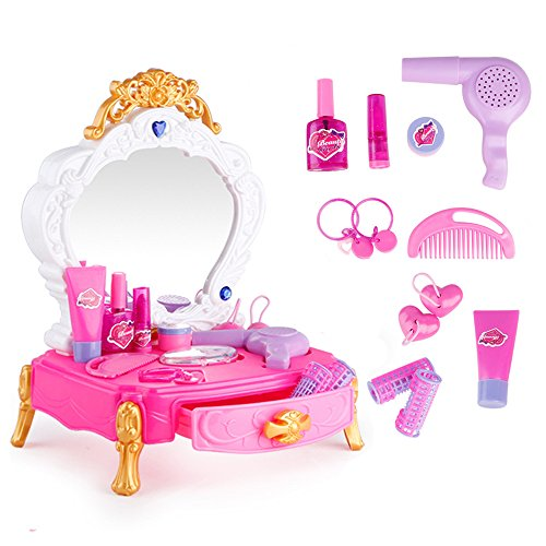 [해외]은천 어린이 화장품 · 액세서리 케이스 · 상자 화장 경대 음악 드레싱 공주 여자 3 세 이상 13pcs 세트/Unchon Kids Cosmetics Accessories Case | Box Makeup Chamber Music Dressing Princess Girls 3 years and over 13 pcs Set