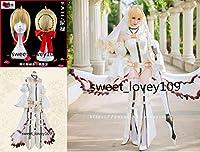 コスプレ衣装 FGO Fate/Grand Order Saber ネロ・クラウディウス 花嫁 + 髪飾り+ウイッグ
