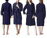 アイボレオ(Aibrou)男女兼用バスローブ ホテルタイプ 無漂白・無蛍光ワッフル生地 コットン素材