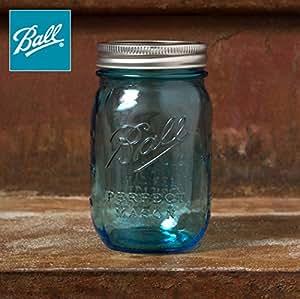 Made In USA 【Ball】ボール Mason Jar メイソンジャー レギュラーマウス 480ml Blue (ブルー)