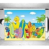 セサミストリート サーフボードテーマ 写真背景 夏 ビーチ 海辺 写真背景 ハワイアン ルアウ パーティー 背景 ベビーシャワー 誕生日 バナー 装飾用品 スタジオ小道具 ビニール 7x5フィート