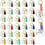 bobotron 128Pcs Acrylic Keychain Blanks Clear Circle Discs Key Chain 2 Inch Tassel Pendant Keyring for DIY Projects and Craft