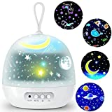 Star Projector Night Lights for Kids - 4 Set Films 360 Degree Rotating - Bedside Lamp with USB Cable, 4 LED Bulbs, 8 Color Ch