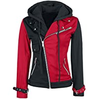 Aus Eshop Womens Harley Quinn Red and Black Biker Hoodie Cotton Jacket