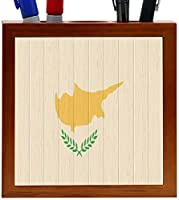 Rikki Knight Cyprus Flag on Distressed Wood Design 5-Inch Wooden Tile Pen Holder (RK-PH8702) [並行輸入品]