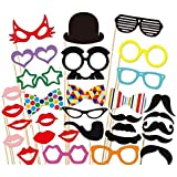 31 Pcs DIY Colourful Photo Booth Props On A Stick Moustache Bearded Lips For Fun Wedding Favour Christmas Birthday Party Favour