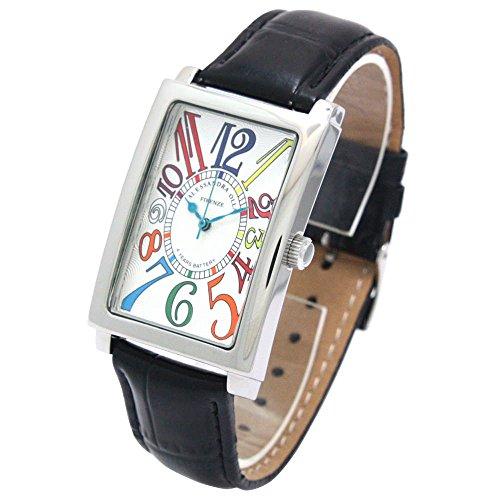 [アレサンドラオーラ]Alessandra Olla 腕時計 レクタンギュラー レザーベルト カラフルインデックス ホワイト×ブラック AO-4500S-WHRW メンズ