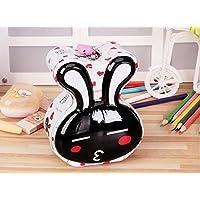 マネー バンク ロングイヤーウサギ貯金箱小説ティンプレート収納ボックス誕生日ギフト(ホワイト、ブラック)