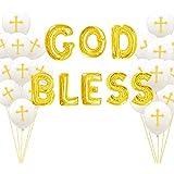 JeVenis 21個セット ゴールド 神の祝福 バルーン バナー 洗礼 装飾 初聖体拝領式 装飾 洗礼 バルーン 洗礼式 ベビーシャワー用