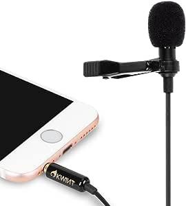 OKWINT コンデンサーマイク ピンマイク 高音質 ミニマイク クリップ iPhone/iPad/Android/pc/カメラ 対応 収納ポーチ付属(ブラック)