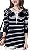(ラルジュアルブル) largearbre ボーダー カットソー Tシャツ レディース チェック 長袖 インナー あったかい シンプル トップス カジュアル シャツ かわいい おしゃれ きれいめ 大きい サイズ 可愛い 綺麗 スポーティ 着やせ 着痩せ 薄手 白黒 ゆったり デザイン ボタン 丸首 ラフ 秋冬 オール シーズン (XL, ホワイト)