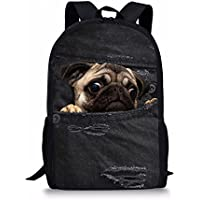 Coloranimal Cute Pug Dog Backpack Kids Vintage Denim Print School Bags Girls Bookbags
