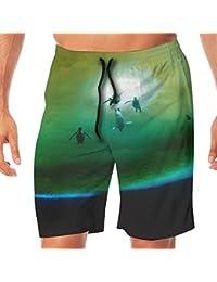 メンズ水着 ビーチショーツ ショートパンツ ファンタジー ペンギン スイムショーツ サーフトランクス 速乾 水陸両用 調節可能