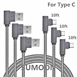 USBタイプCケーブル、sumoon 3パック10 ft 90度ナイロン編みUSB A to USB C充電ケーブル高速充電コードfor note8 / s8 / s8 Plus , Googleピクセル2 XL /ピクセルXL、LG v30 / g6、HTC 10 and More