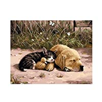 Yyboo 数字によるデジタルキャンバス油絵ギフト大人子供キットホームデコレーション - 子猫アヒルの子 (フレームなし)