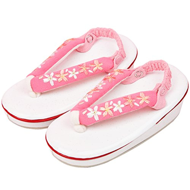[キョウエツ] 草履 七五三用 3歳用 桜刺繍 かかと留め付き ガールズ