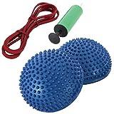 青 エクササイズ 体幹トレーニング 筋トレ 強化 ストレッチ バランスディスク バランスクッション 2個セット 空気入れ トレーニング ゴム チューブ リュックサック 付き (青)