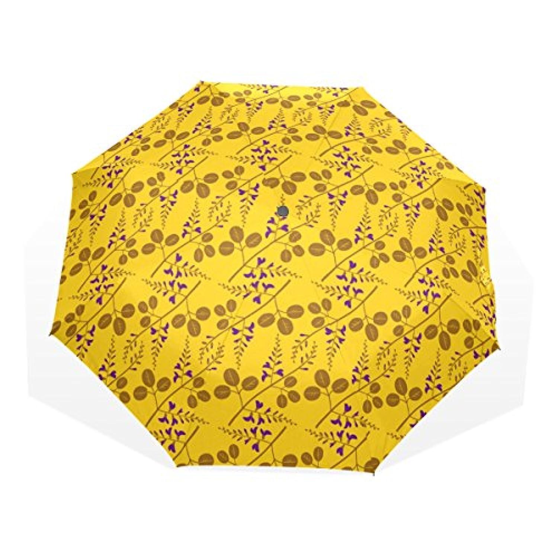ユキオ(UKIO) 折りたたみ傘 レディース 晴雨兼用 高密度 遮光 手動 遮熱 飛び跳ね防止 梅雨対策 雨傘 日傘 軽量 防風 頑丈 葉 黄色系 収納ケース付