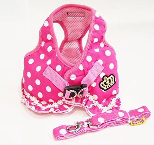 ピンク 可愛い ドット 柄 フリル 付 ハーネス 小型 の 犬 猫 カワイイ リード セット
