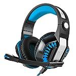 【メーカー1年保証】ゲーミング ヘッドセット North Crown ゲーム用 ヘッドホン 密閉型 PS4 PC FPS Xbox One スマホ タブレット対応 高音質 360度調整可能マイク(ブルー)