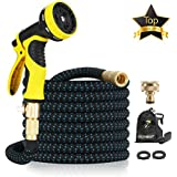"""15M Garden Hose - ALL NEW Expandable Garden Hose with Double Latex Core, 3/4"""" Solid Brass Fittings, Australian Standard Universal Tap Adaptor, Expandable Water Hose Set for Car Wash, Extra Strength Fabric - Flexible Expanding Water Hose with 9 Function Spray Nozzle by McHose (Multicolored)"""