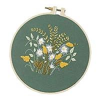 FLAMEER リボン刺しゅう 花刺繍 クロスステッチ セット スターター フレーム 暇つぶし DIY 手芸 全8種 - 菊