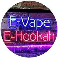 E-Hookah Cigs Décor Dual LED看板 ネオンプレート サイン 標識 Blue & Red 400 x 300 mm st6s43-i3105-br