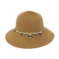 yaojiaju夏ストロー帽子、Sun Beach Straw Sunhatファッション大きなつばシェルフロッピー弓Caps for Women