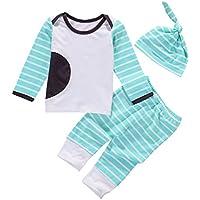 新生児赤ちゃん男の子女の子ミントグリーンストライプGoing Home outfitshirt、レギンス、ノット帽子3点パジャマセット