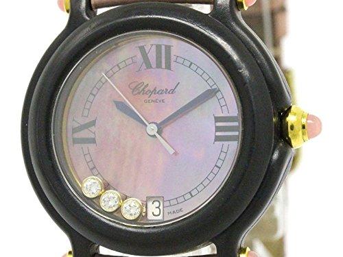 [ショパール]Chopardショパール ビーハッピー ダイヤモンド ピンクシェル文字盤 プラスチック レザー クォーツ レディース 時計-(BF093973)[中古]