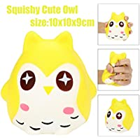 SqueezeジャンボStressball Relieverソフトかわいいフクロウ人形香りつきSlow Risingおもちゃギフト 3.9'' イエロー S-5688