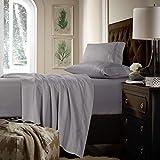 Tribeca Living 750 Thread Count Egyptian Cotton Extra Deep Pocket Sheet Set, Queen, Silver Grey