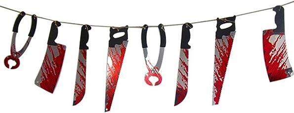 ハロウィン ガーランド 血ナイフ 刃物ガーランド ハロウィン飾り お化け屋敷 壁掛け 血だらけ 恐怖系 2.2 M