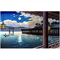 Ansyny 3D壁紙カスタム写真不織壁画壁ステッカー日本庭園月夜シーン絵画部屋の壁紙用壁-420X280cm