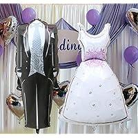 qtmy 11857 CM Bride and Groomドレス形状箔ヘリウムバルーン結婚の素朴な国教会ウェディング誕生日パーティーデコレーションFavours Suppliesバルーントイ