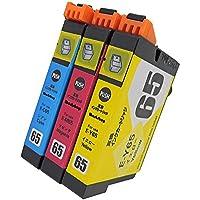 エプソン(EPSON) IC65PG(C/M/Y)【全色顔料3色セット】プレミアム互換インクカートリッジ(最新ICチップ、残量表示機能付き/商品1年保証)65PGCMY【Morishop製】