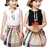 韓国子供服 セットアップ チェック柄 スカート タンクトップ ボタン ポケット付き (140cm, 黒 ブラック)