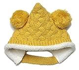 【ノーブランド品】前ボタン付きもこもこエルフニット帽(ボンボン)頭回り44-50cm 2重 モンキー帽子 とんがり帽 マスタード