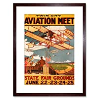 Vintage Ad Airshow Aviation Twin City Plane USA Framed Wall Art Print アメリカ合衆国