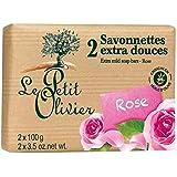ル?プティ?オリヴィエ余分なマイルドソープは2×100グラムをバラ x2 - Le Petit Olivier Extra Mild Rose Soap 2 x 100g (Pack of 2) [並行輸入品]