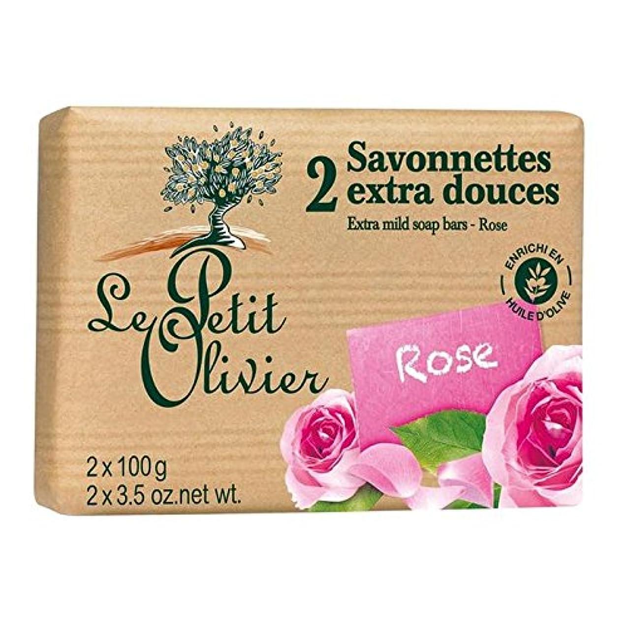 コード熱心な逸話Le Petit Olivier Extra Mild Rose Soap 2 x 100g - ル?プティ?オリヴィエ余分なマイルドソープは2×100グラムをバラ [並行輸入品]