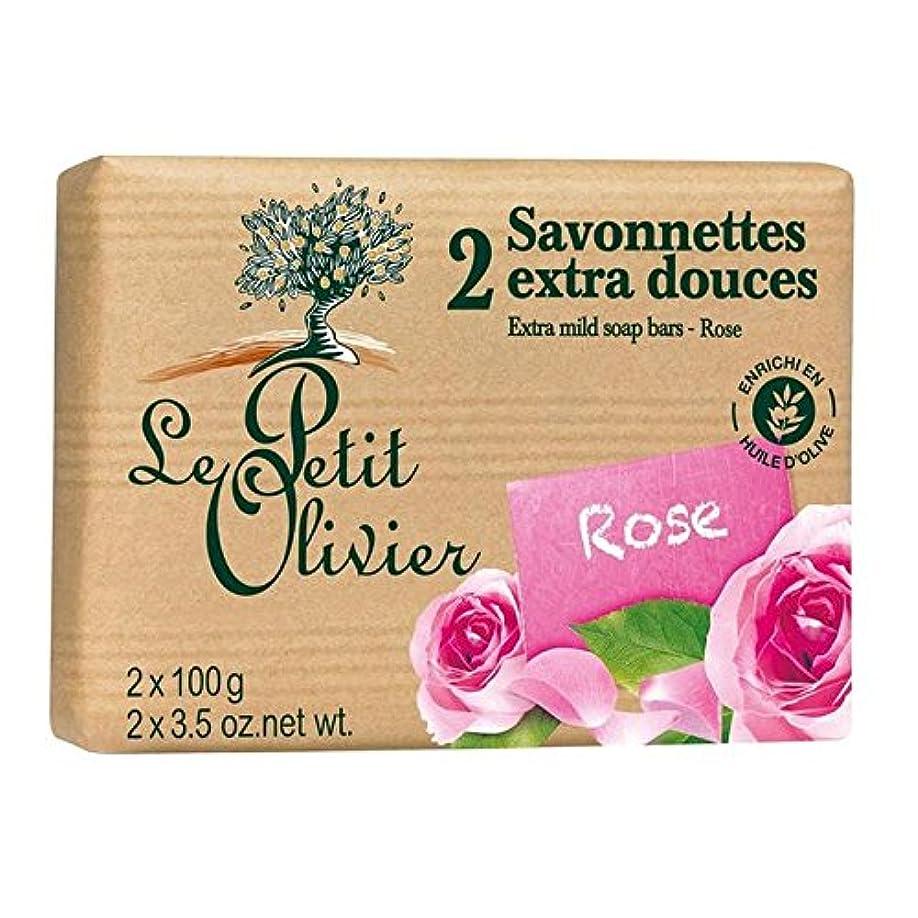 パドル便利免除するル?プティ?オリヴィエ余分なマイルドソープは2×100グラムをバラ x2 - Le Petit Olivier Extra Mild Rose Soap 2 x 100g (Pack of 2) [並行輸入品]